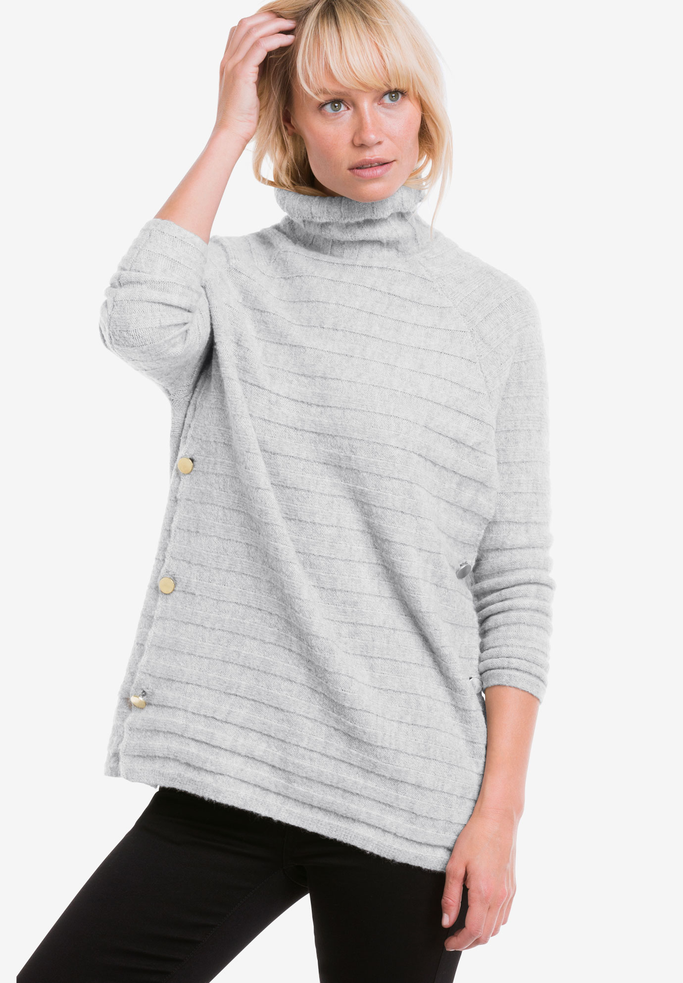 Side Button Turtleneck Sweater by ellos®,