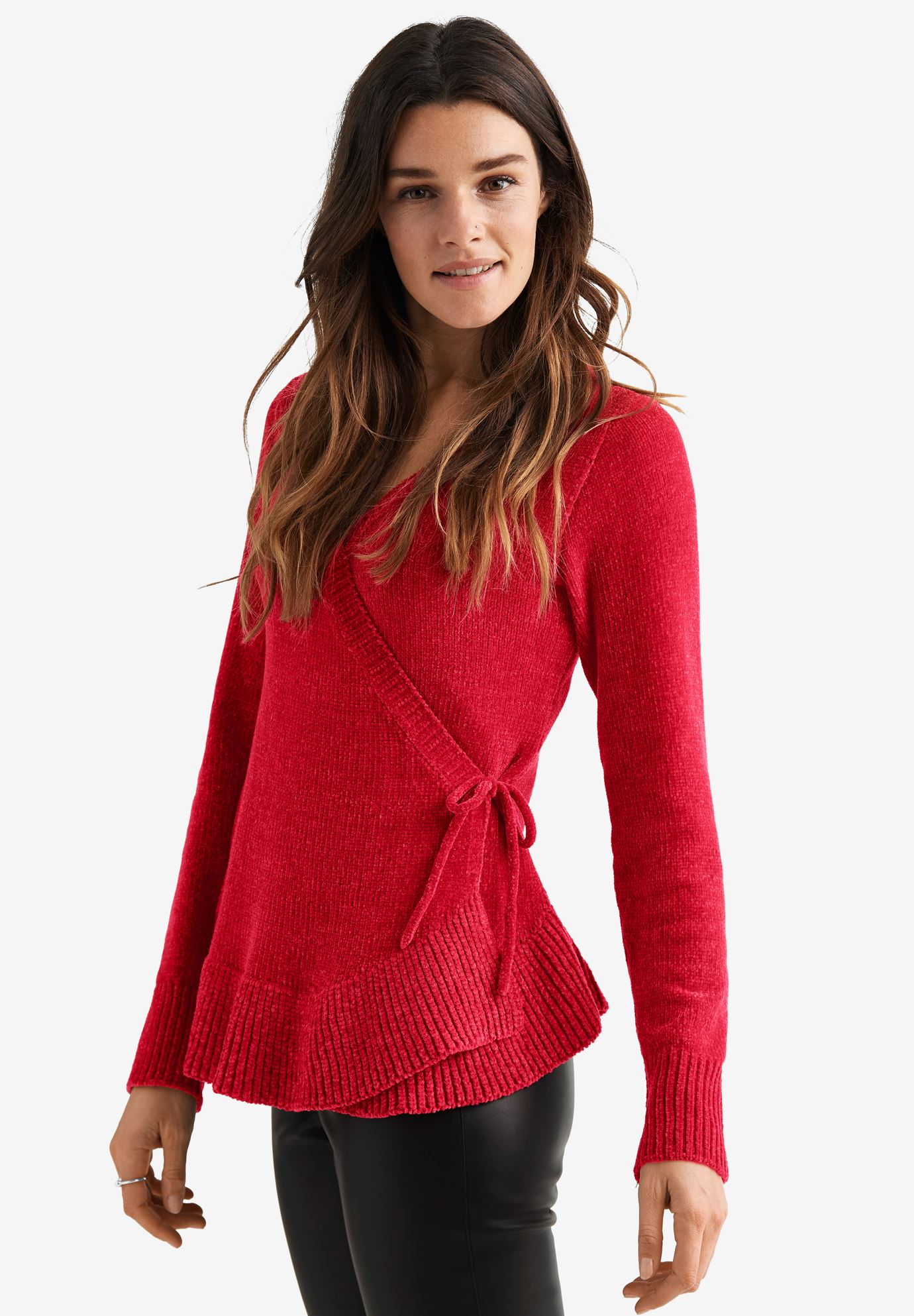 Chenille Wrap Sweater by ellos®,