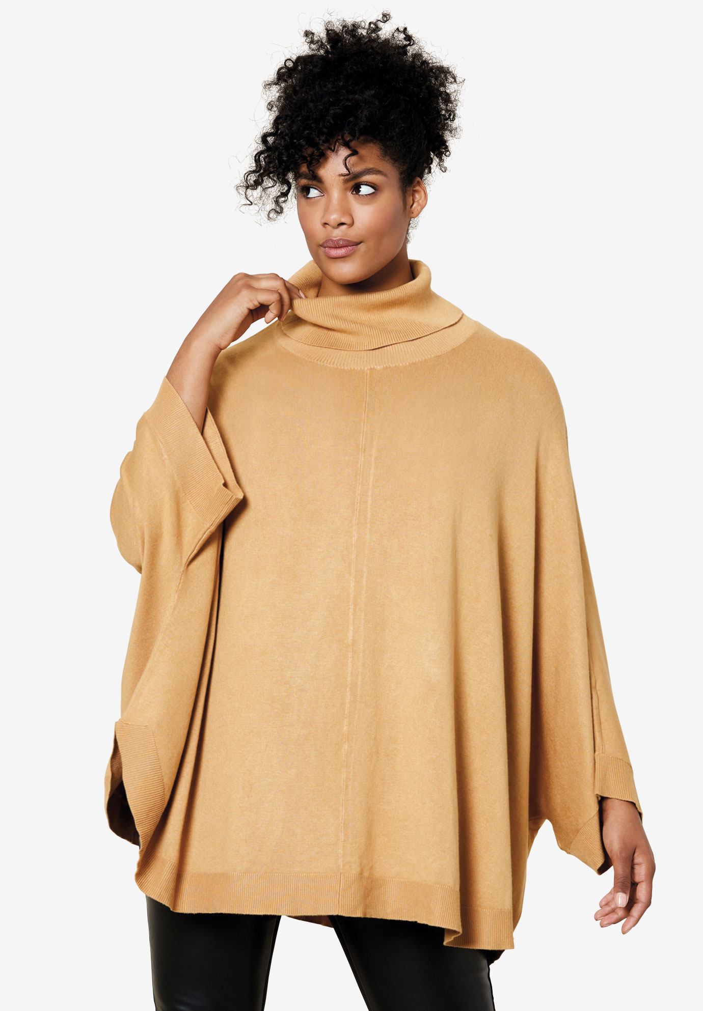 Turtleneck Poncho Sweater by ellos®,