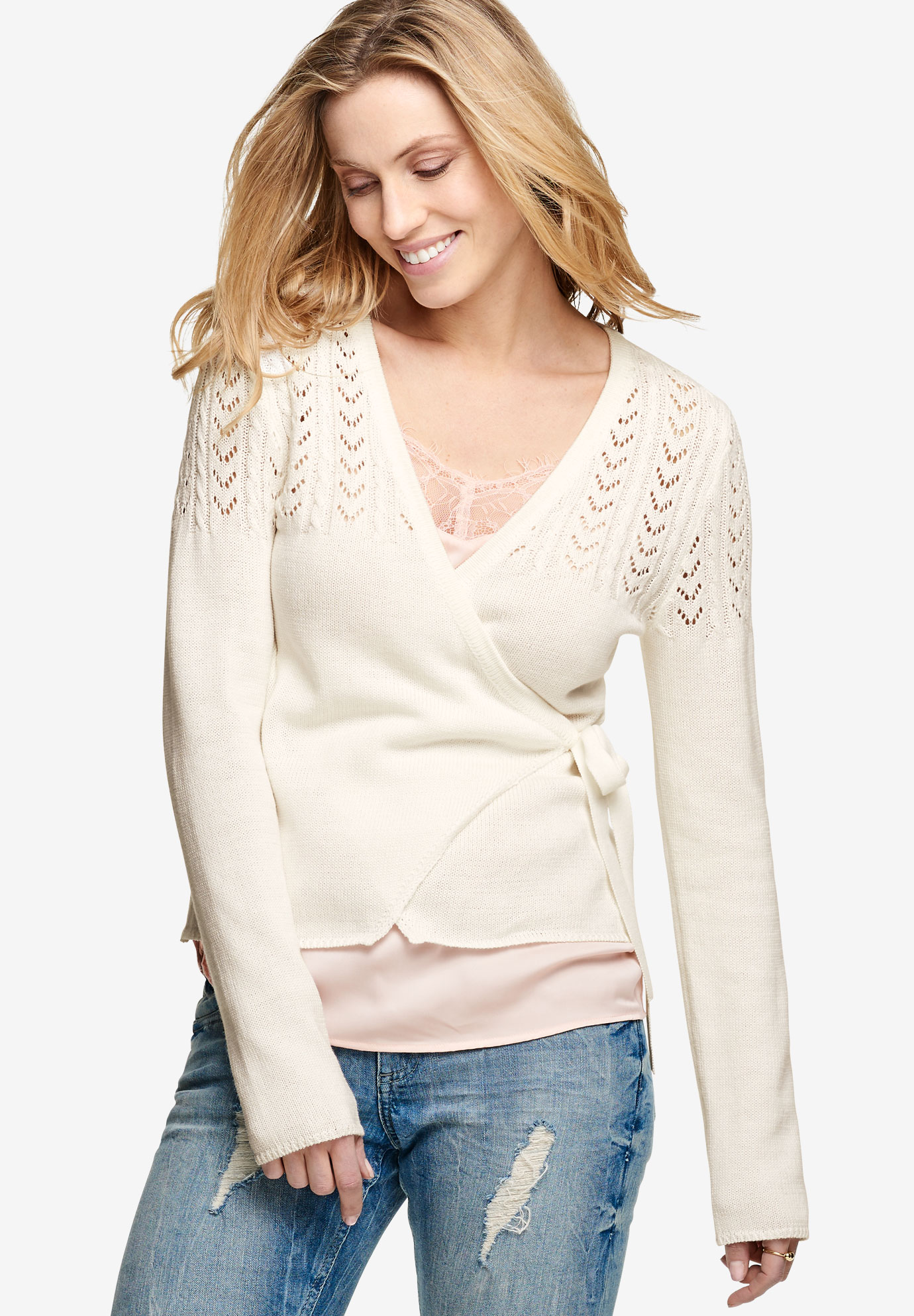 Pointelle Wrap Cardigan by ellos®, IVORY