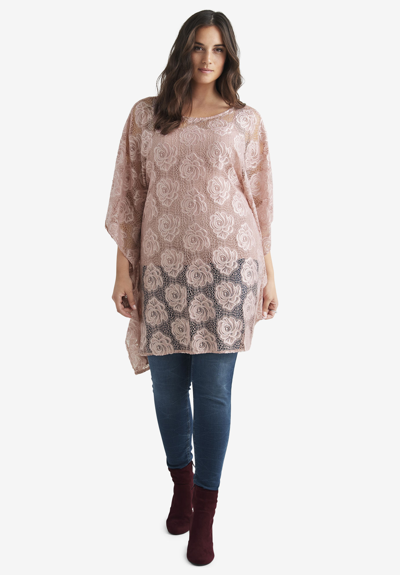 Lace Poncho Tunic by ellos®,