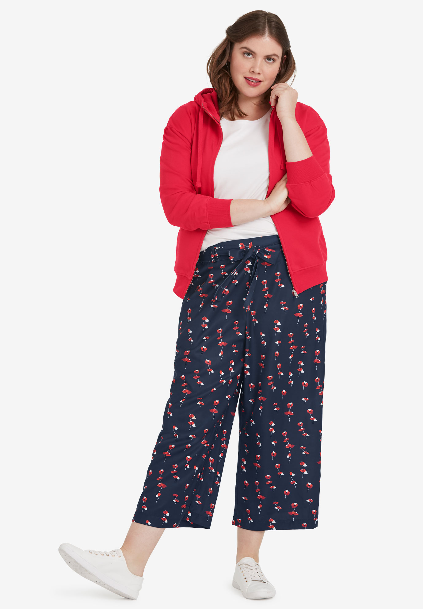 Wide-Leg Cropped Pants,