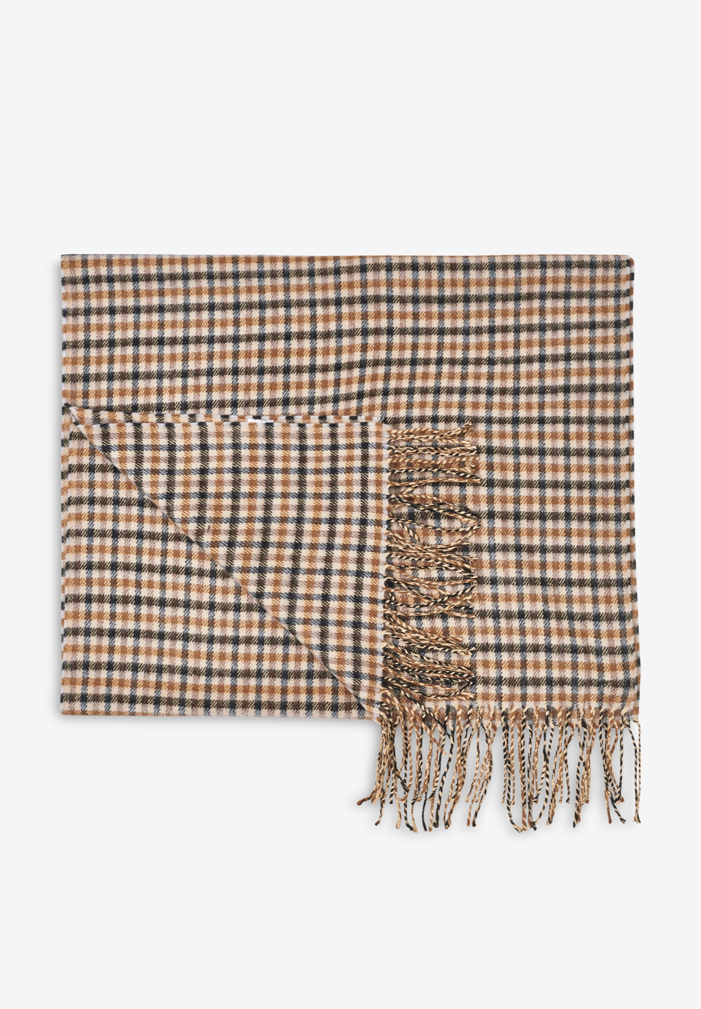 Fringe Trim Scarf, BLACK CAMEL CHECK