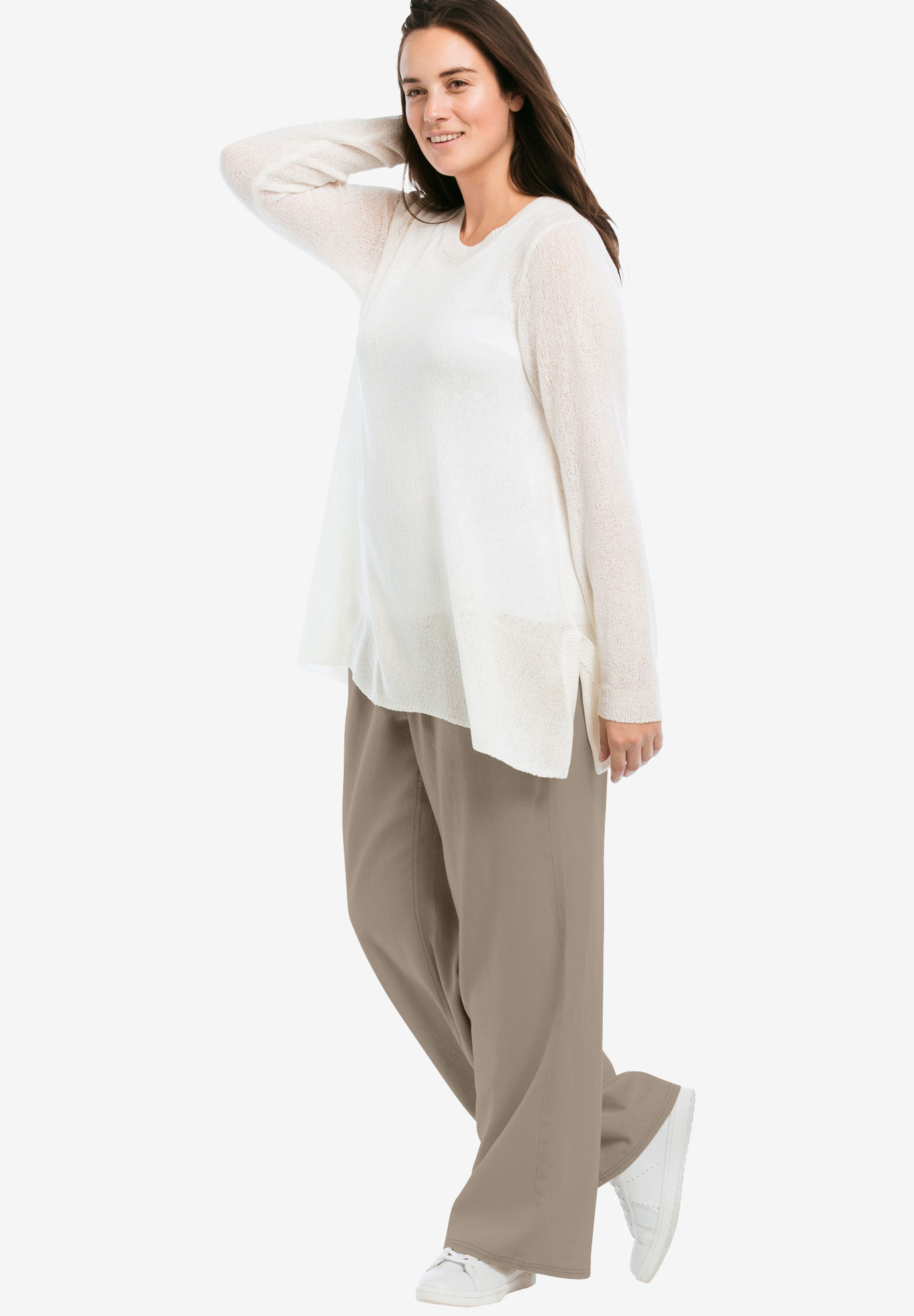 Linen Blend Wide Leg Pants by ellos®,